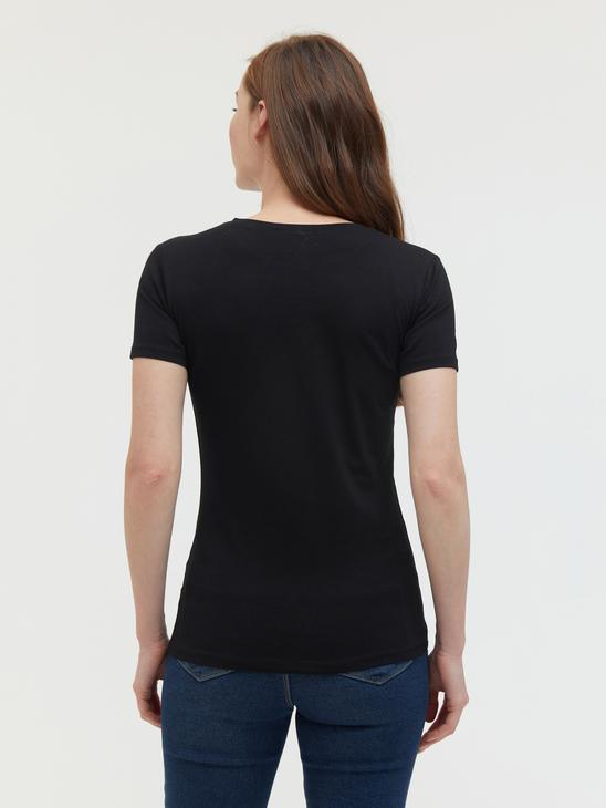 BLACK - Crew Neck Plain T-Shirt - S18188Z8