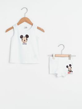 WHITE - Crew Neck Sleeveless Mickey Mouse Printed Baby Boy Undershirt and Boxer - S1CO84Z1