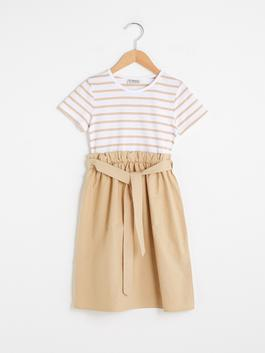 ECRU - Crew Neck Striped Short Sleeve Girl Dress