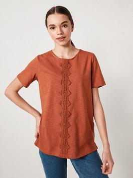 BROWN - Crew Neck Embroidered Short Sleeve Women's Blouse