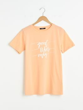 CORAL - Crew Neck Printed Short Sleeve Cotton Maternity T-Shirt
