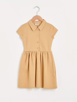 BEIGE - Basic Polo Neck Short Sleeve Girl Dress