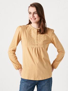 BEIGE - Crew Neck Button Detailed Embroidered Blouse
