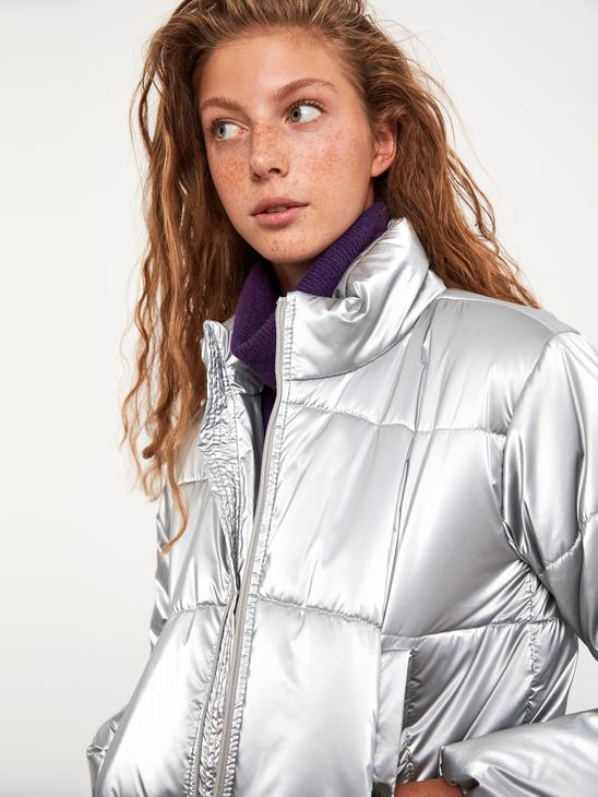 GREY - XSIDE Vertical Collar Thick Crop Inflatable Coat - 0WCL47Z8
