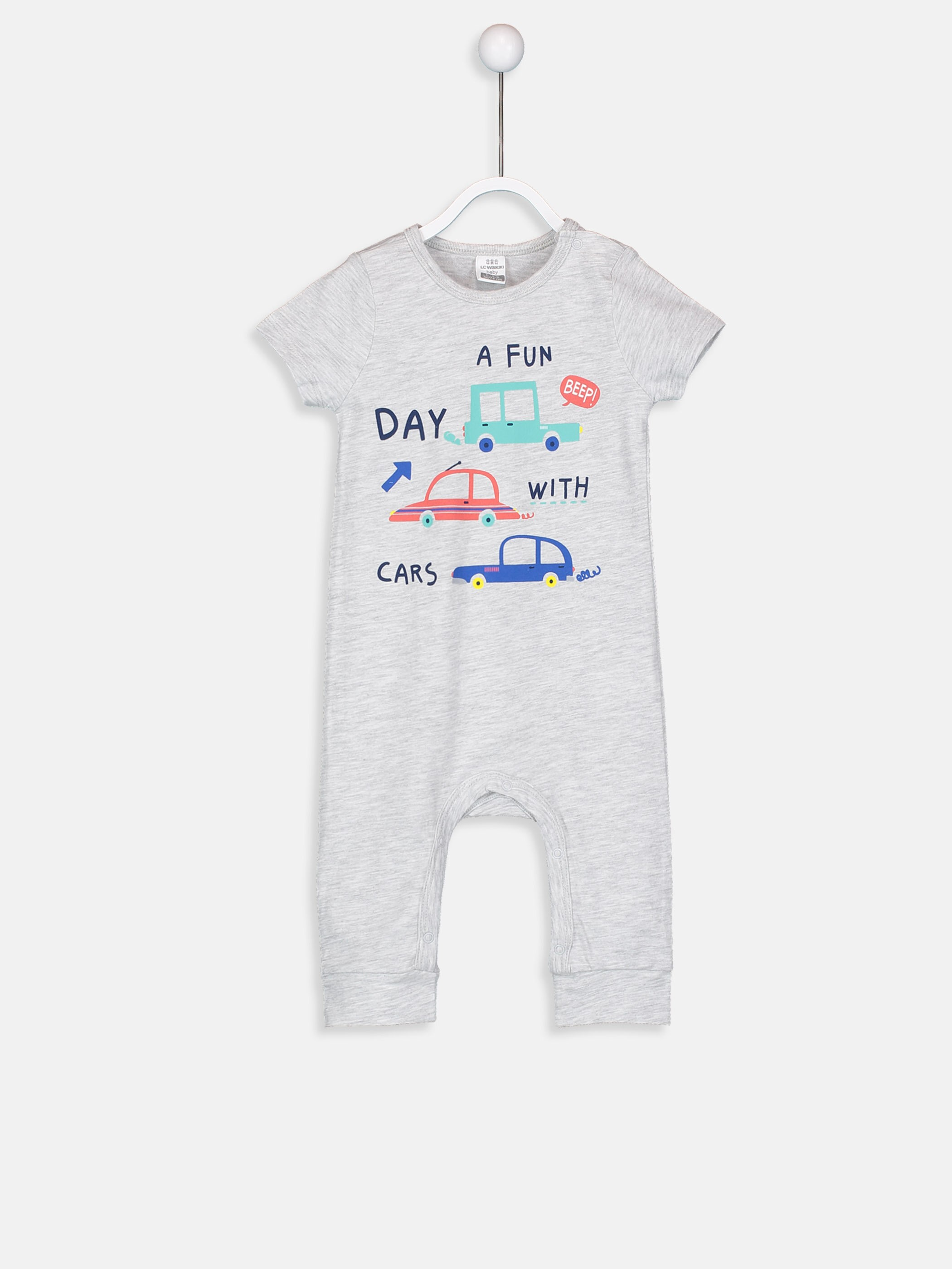 GREY - Baby Boy's Printed Cotton Jumpsuit - 9S9699Z1