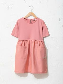 PINK - Crew Neck Basic Short Sleeve Girl Dress