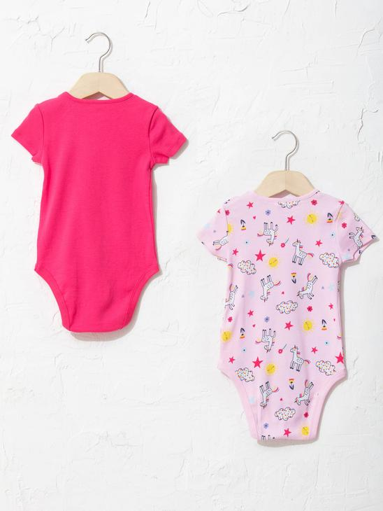 PINK - Crew Neck Short Sleeve Printed Baby Girl Body With Snap Fastener 2 Pieces - S13199Z1