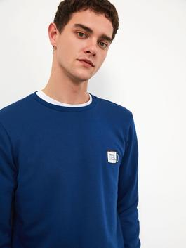 BLUE - XSIDE Crew Neck Patch Embroidered Sweatshirt