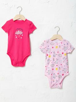 PINK - Crew Neck Short Sleeve Printed Baby Girl Body With Snap Fastener 2 Pieces