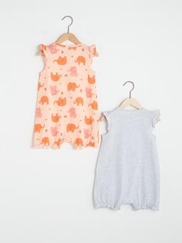 GREY - Crew Neck Sleeveless Printed Baby Girl Jumpsuit 2 Pieces - S13021Z1