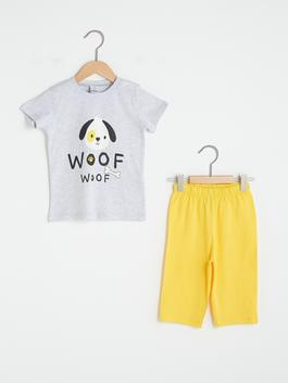 GREY - Crew Neck Short Sleeve Printed Baby Boy Pajamas Suit