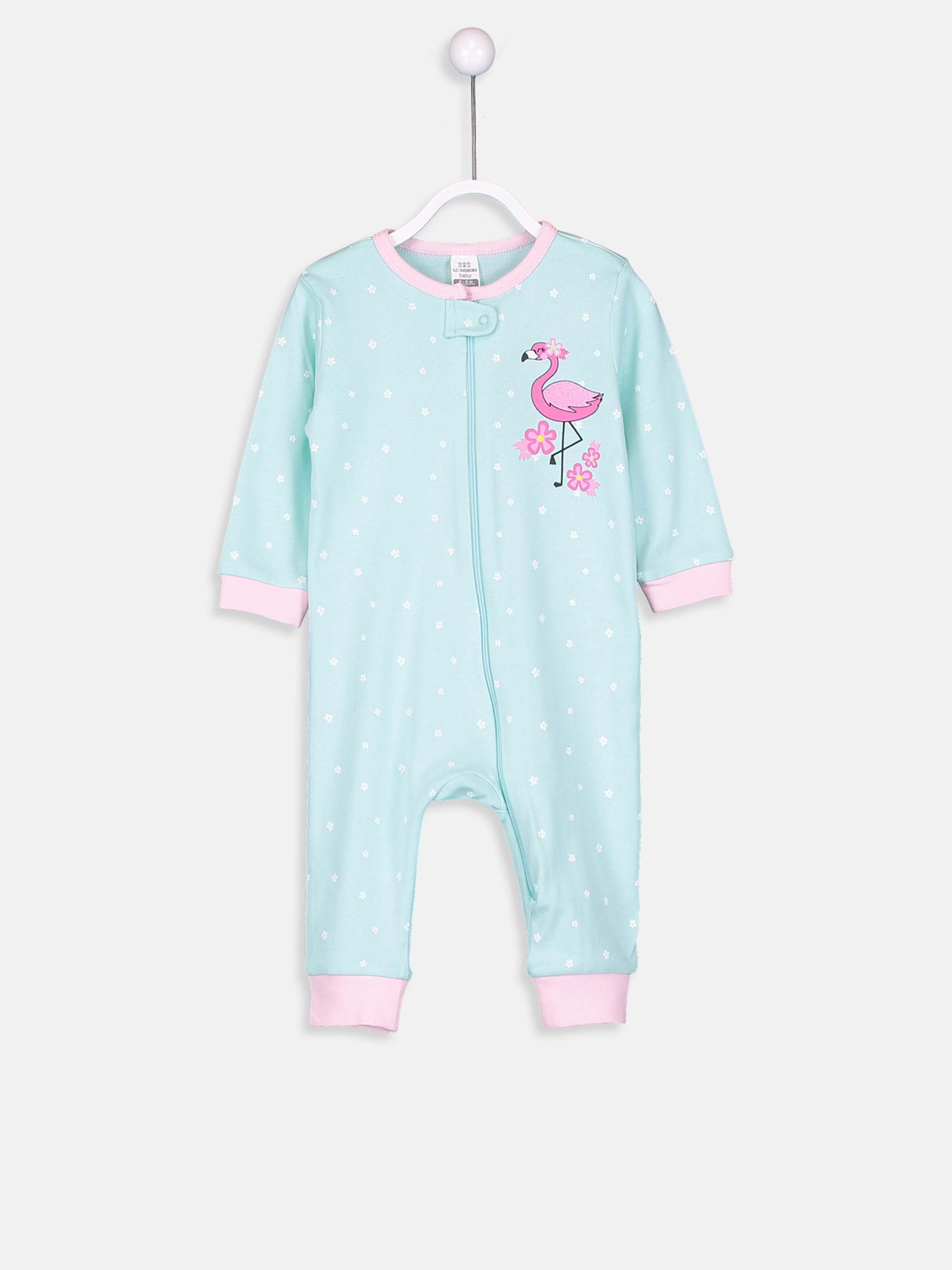 GREEN - Baby Girl's Figured Cotton Jumpsuit - 9S1976Z1