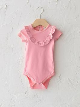 PINK - Crew Neck Short Sleeve Basic Baby Girl Body With Snap Fastener
