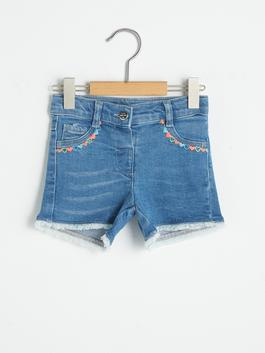INDIGO - Embroidered Baby Girl Jean Shorts
