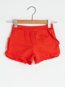RED - Baby Girl Gabardine Shorts With Waist Elastic