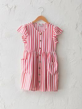 RED - Crew Neck Striped Short Sleeve Viscose Girl Dress