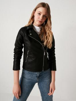 BLACK - Long Sleeve Leather Look Women's Coat With Jacket Collar Straight Zipper Closure