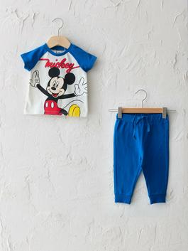 BLUE - Crew Neck Short Sleeve Mickey Mouse Printed Baby Boy T-shirt and Jogger Pants 2 Pieces