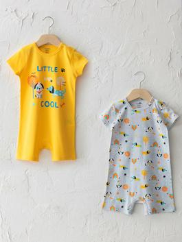 YELLOW - Crew Neck Short Sleeve Printed Baby Boy Jumpsuit 2 Pieces