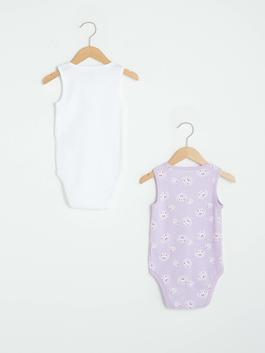 PURPLE - Crew Neck Sleeveless Printed Baby Girl Body With Snap Fastener 2 Pieces