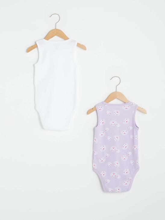 PURPLE - Crew Neck Sleeveless Printed Baby Girl Body With Snap Fastener 2 Pieces - S13167Z1
