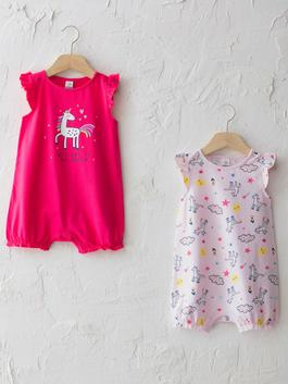 PINK - Crew Neck Short Sleeve Printed Baby Girl Jumpsuit 2 Pieces