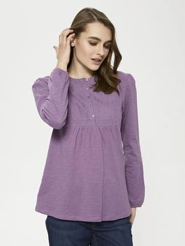 PURPLE - Crew Neck Button Detailed Embroidered Blouse