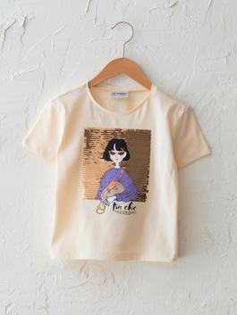 ECRU - Crew Neck Printed Double Sided Sequined Short Sleeve Girls T-Shirt