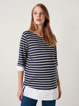 NAVY - Striped Maternity T-Shirt