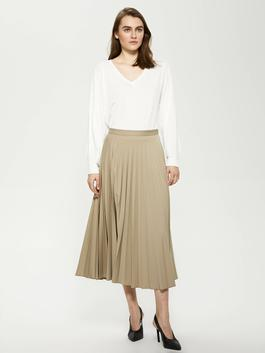 KHAKI - MODEST Elastic Pleated Women Skirt