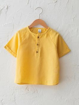 YELLOW - Crew Neck Short Sleeve Basic Baby Boy Shirt