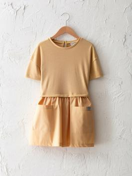 BEIGE - Crew Neck Basic Short Sleeve Girl Dress