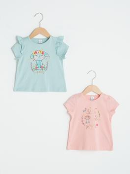 PINK - Crew Neck Short Sleeve Printed Baby Girl T-Shirt 2 Pieces