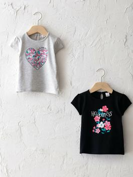 BLACK - Crew Neck Short Sleeve Printed Baby Girl T-Shirt 2 Pieces