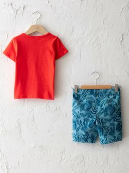 RED - Crew Neck Short Sleeve Printed Cotton T-Shirt and Shorts 2 Pieces - S15881Z1