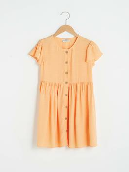 ORANGE - Crew Neck Basic Short Sleeve Viscose Girl Dress
