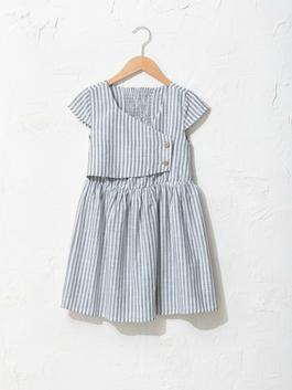 KHAKI - Striped Short Sleeve Poplin Girl Dress