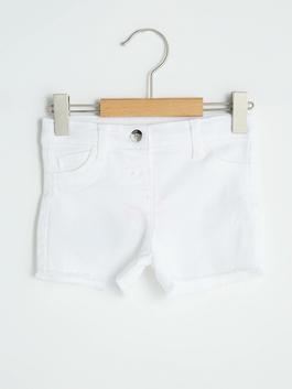 WHITE - Comfort Fit Basic Baby Girl Gabardine Shorts