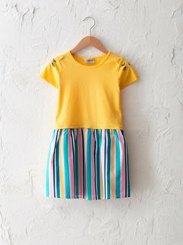 YELLOW - Crew Neck Striped Short Sleeve Girl Dress