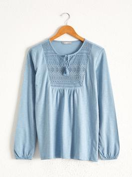 BLUE - Neck Detailed Embroidered T-Shirt