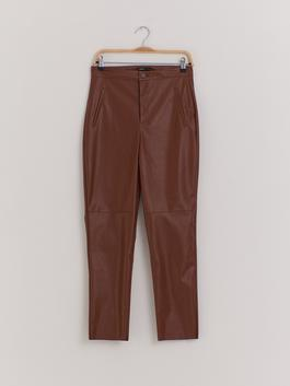 BROWN - Faux Leather Trousers