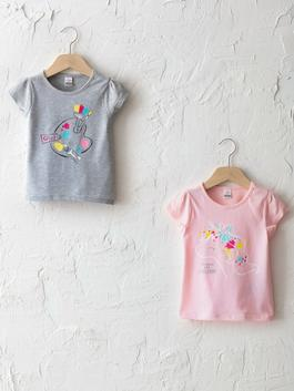 GREY - Crew Neck Short Sleeve Printed Baby Girl T-Shirt 2 Pieces