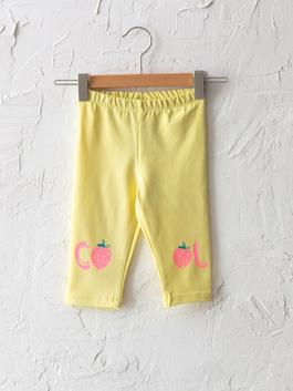 YELLOW - Elastic Waist Printed Baby Girl Tights