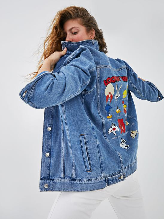 BLUE - XSIDE Women's Looney Tunes Printed Long Sleeve Jean Jacket With Pocket Detail - S1EE27Z8