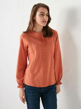 ORANGE - Tie Detailed Embroidered Blouse