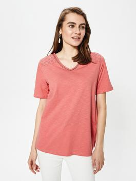CORAL - V Neck Embroidery Detailed Short Sleeve Women's Blouse