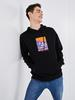BLACK - XSIDE Hooded Printed Thick Sweatshirt - S1BR01Z8