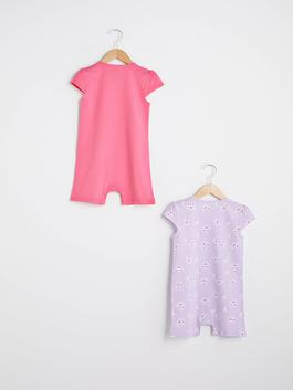 PINK - Crew Neck Sleeveless Printed Baby Girl Jumpsuit 2 Pieces