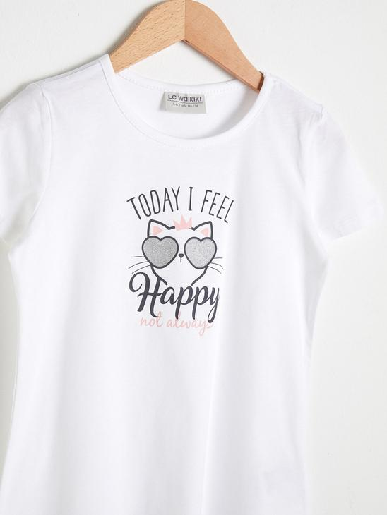 WHITE - Girl's Printed Cotton T-Shirt - S1BF77Z4