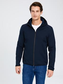 NAVY - Hooded Stand Up Collar Thin Men's Coat - 9W6060Z8